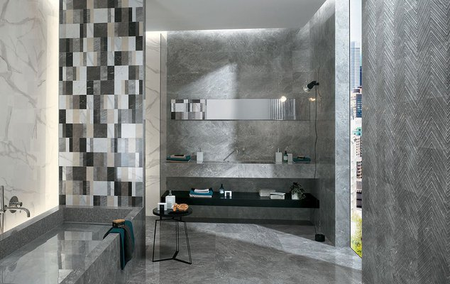 Material and shiny textures for bathroom tiles