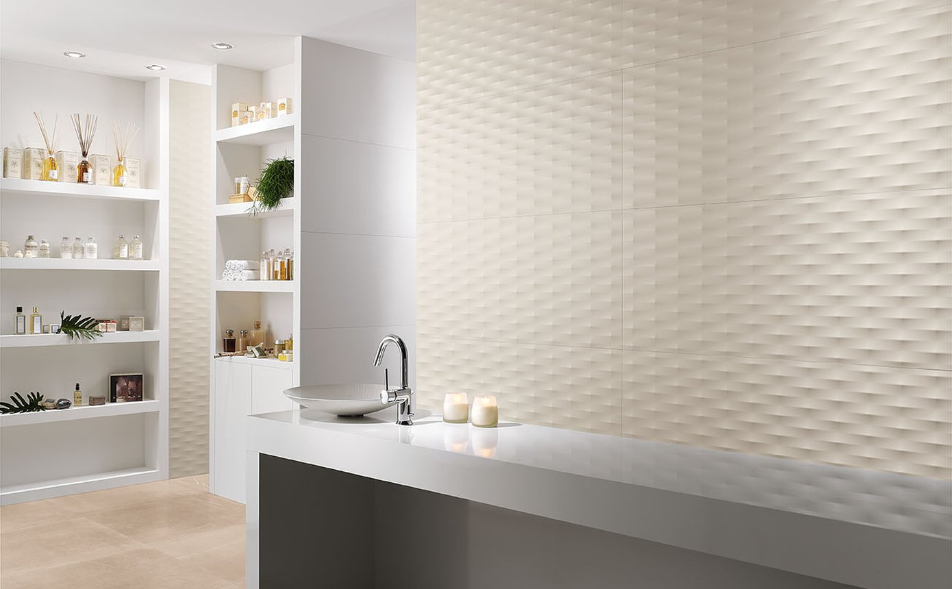 Lumina: piastrelle bagni moderni effetto materico fap