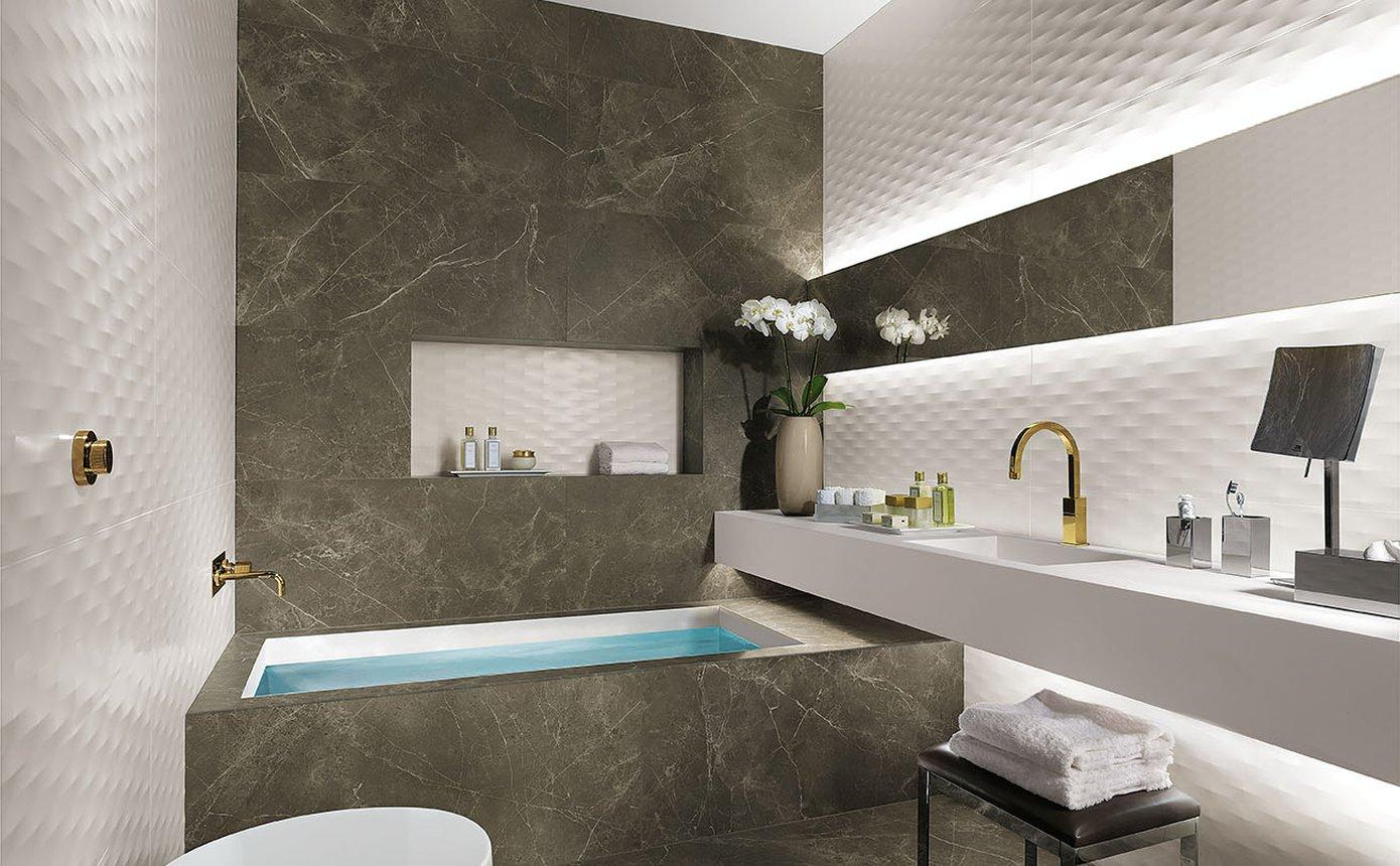 Lumina: piastrelle per bagni moderni effetto materico fap