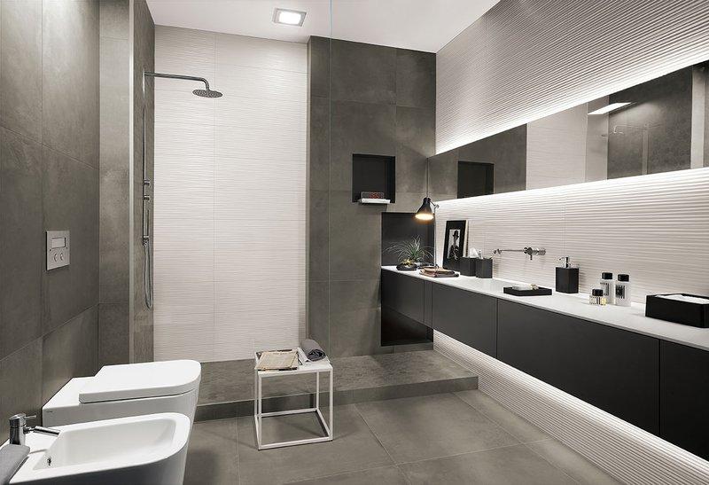 Lumina piastrelle per bagni moderni effetto materico fap