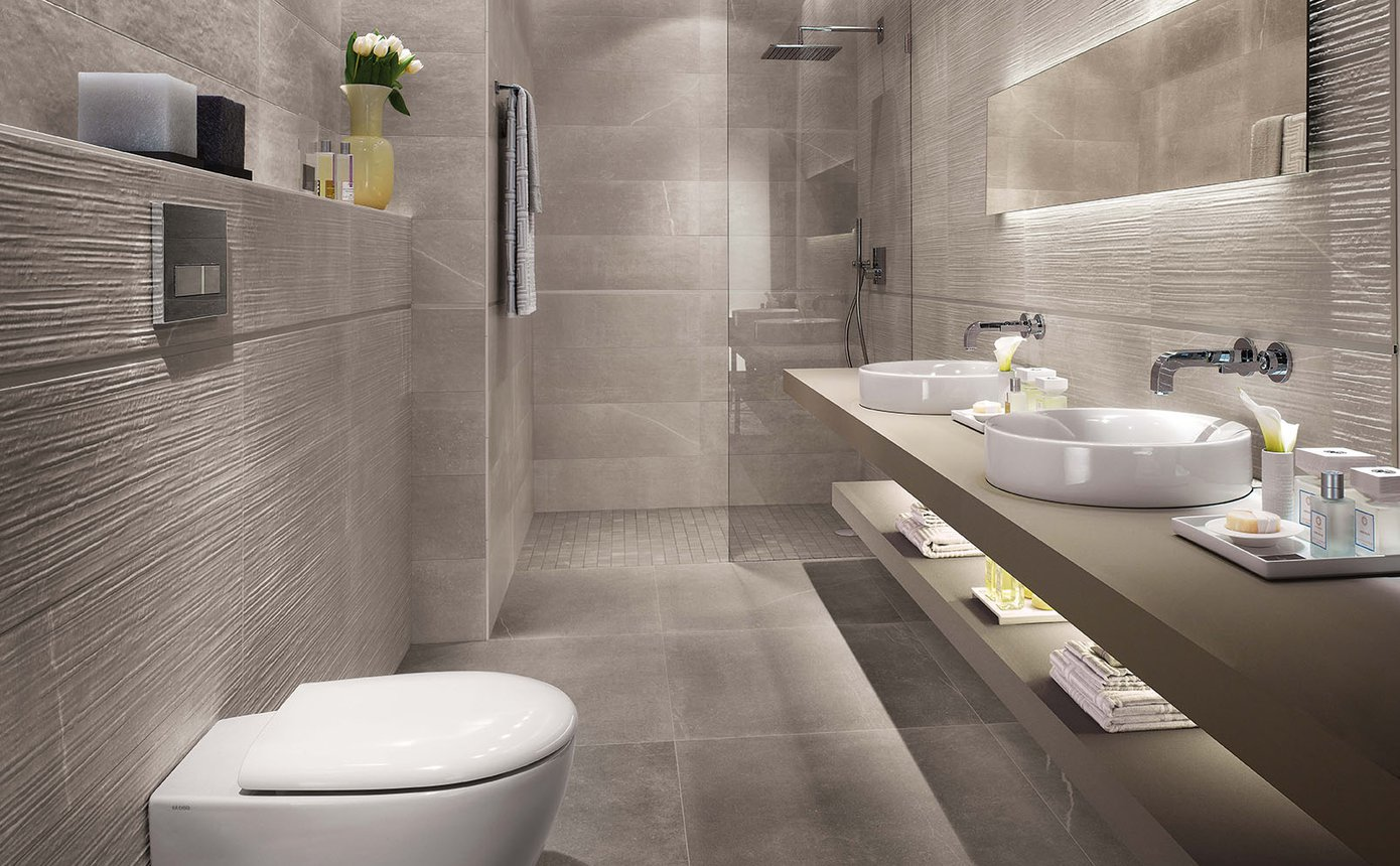 Maku stone effect tiles and white body wall coverings fap for Design interni case moderne